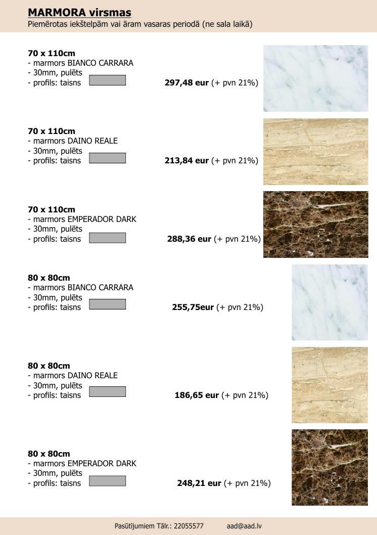 MARMORS galdu virsmas 70x110 UN 80x80 2017-KLIENTS